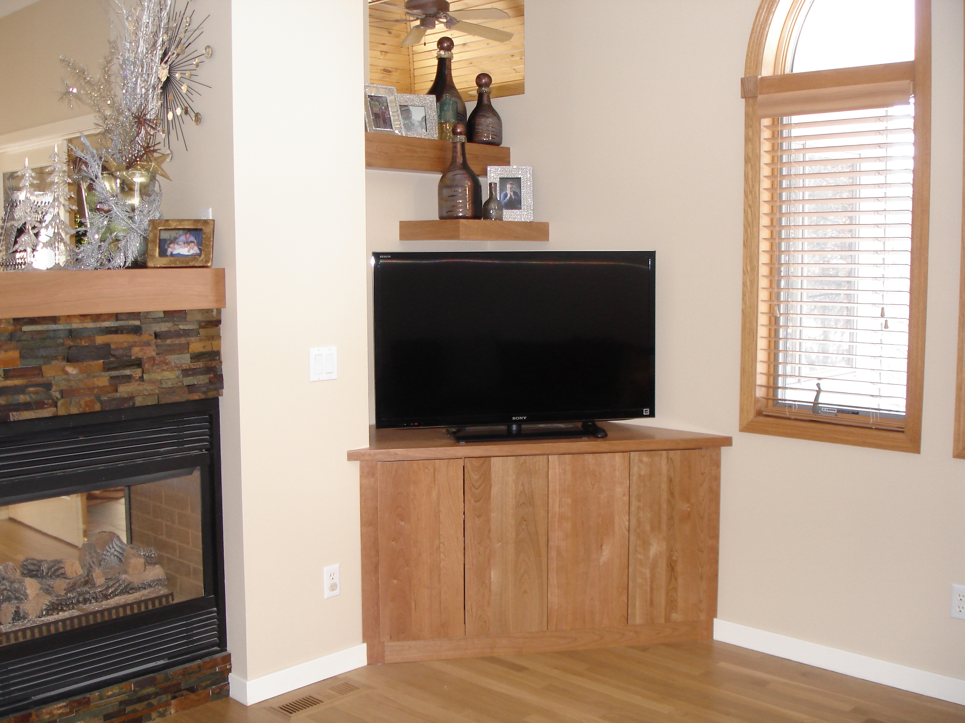 Here Valley Custom Cabinets Designed And Built A Custom Angled Base Cabinet  For Holding The Television. Cabinet Done In Cherry With A ...