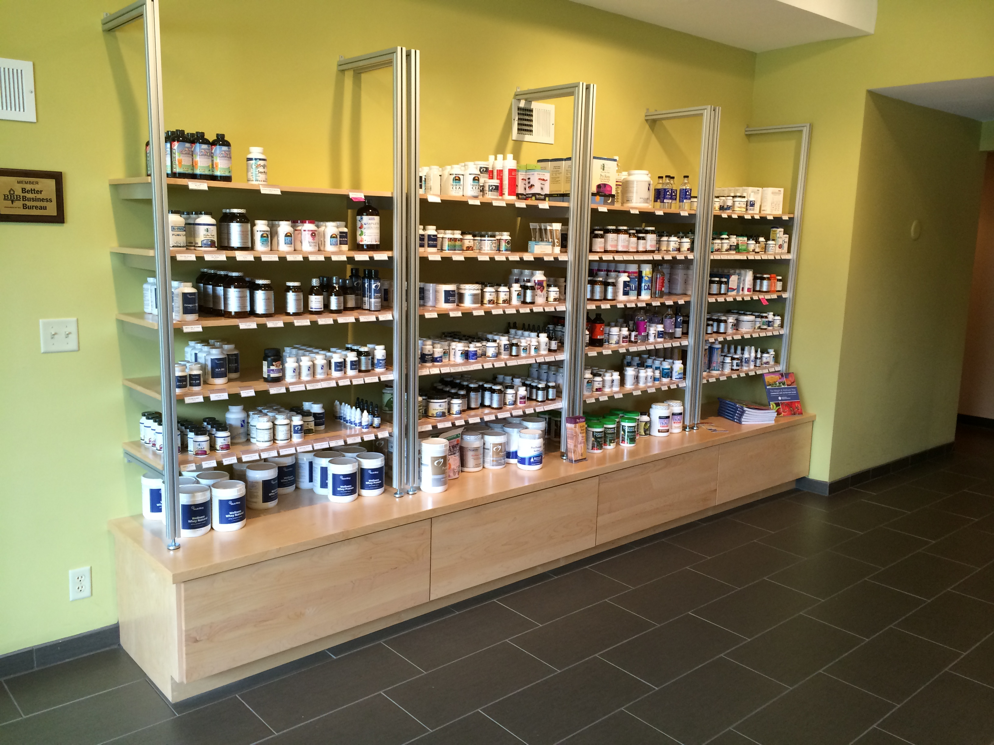 These Custom Built Cabinets Used In A Commercial Office Setting For Them To  Display Their Nutritional Products They Carry. The Deep Drawers Under The  ...