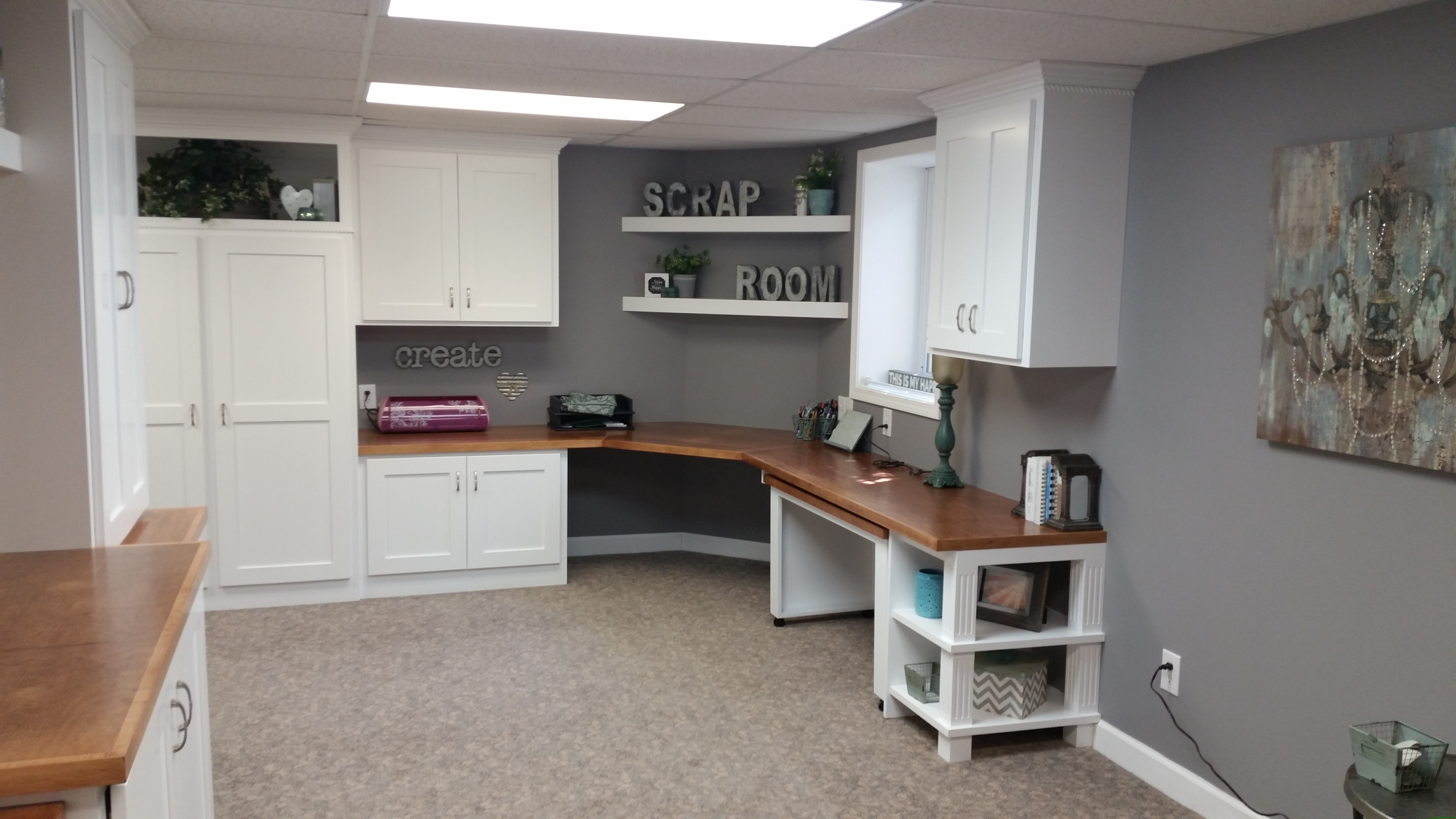 High Quality Basement Remodel Office Craftroom Media Cabinets Woodbury MN